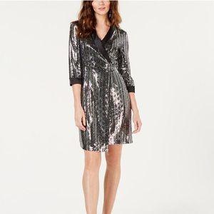 INC metalic sequin wrap dress size M